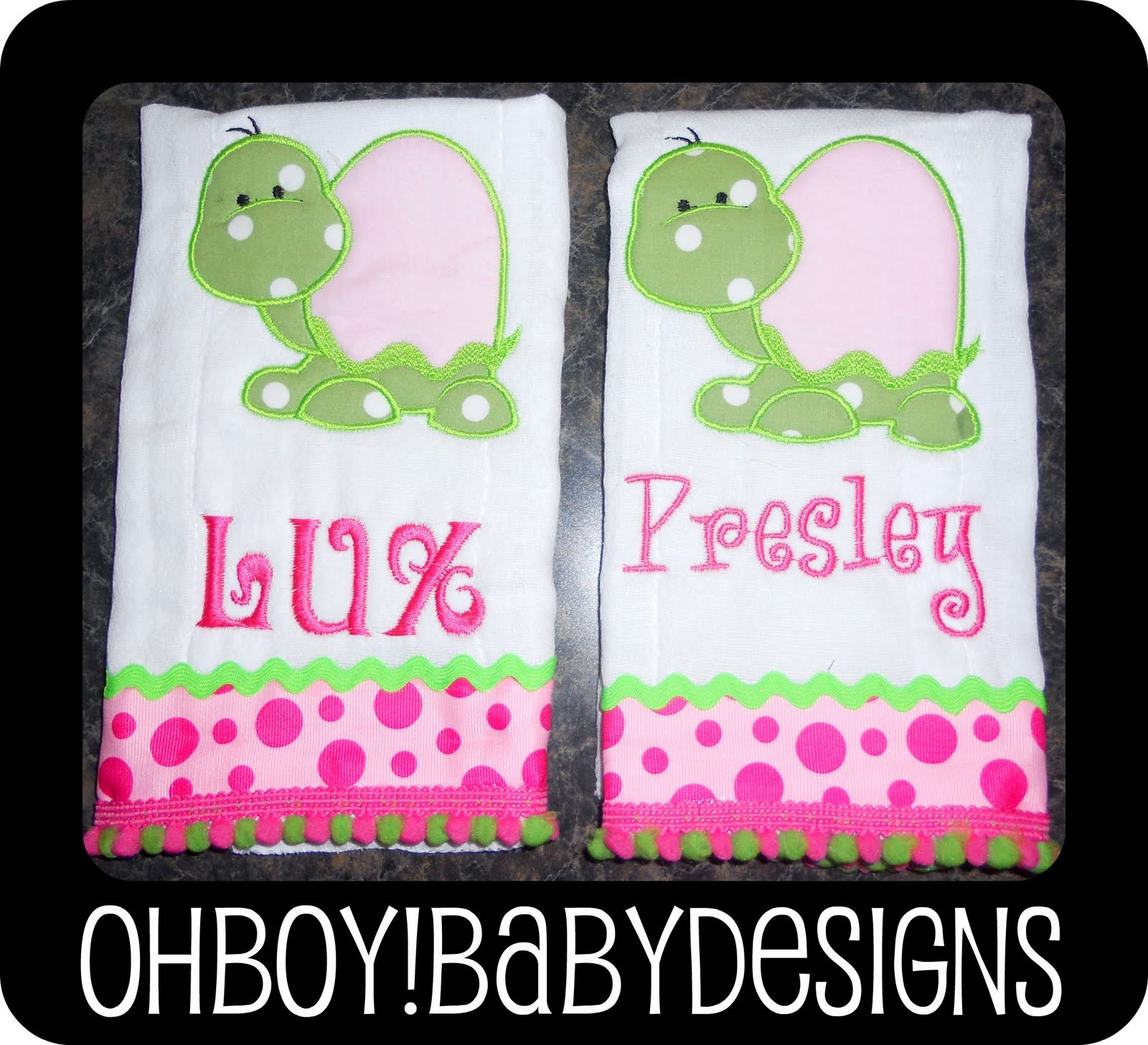 Oh Boy Baby Designs Too Cute Turtle Burp Cloths