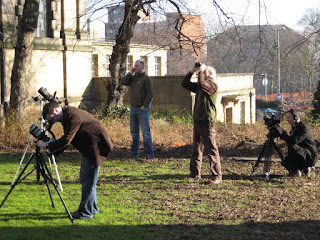 The BBC and Delta Echo Media both film our peregrines on Monday morning with Derbyshire Wildlife Trust's Nick Brown.
