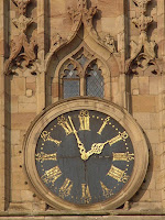 Derby Cathedral Clock Face. The small window is in the Bell Ringing Chamber, where our monitor is located. Photo: Derby Museum