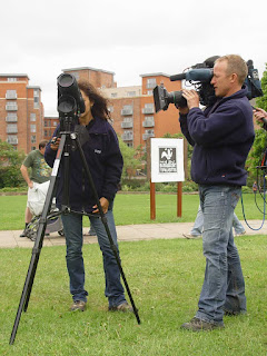 BBC TV film crew during a Peregrine Watch Point - now on every day from 10am-2pm through May in good weather