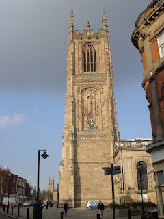 The mediaeval tower of Derby Cathedral dates from around 1530, and is our city's grandest building. Click image to enlarge.