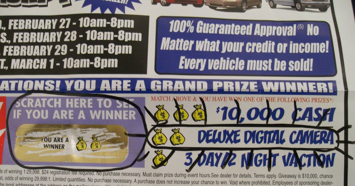 car dealership 39 s bogus prize. Black Bedroom Furniture Sets. Home Design Ideas