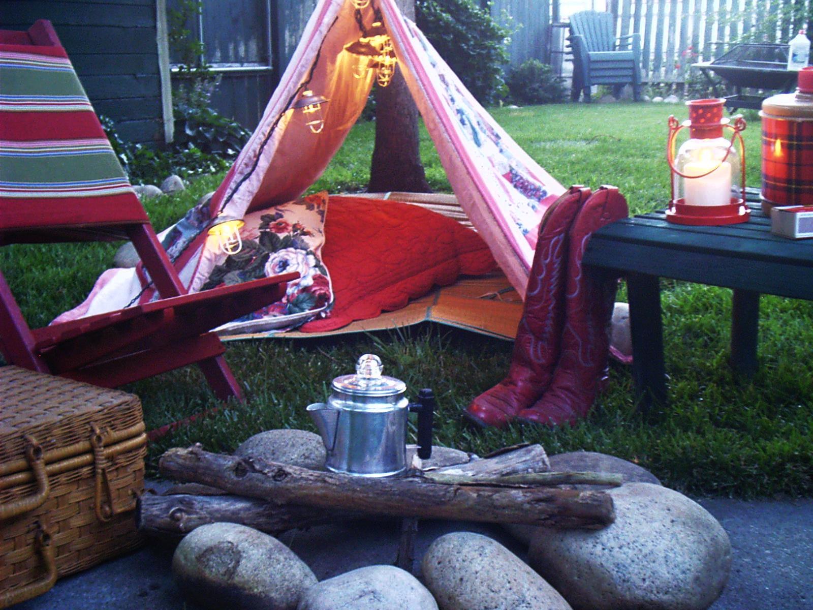 Cozy Red Backyard Camping