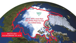 Melting northern polar ice cap