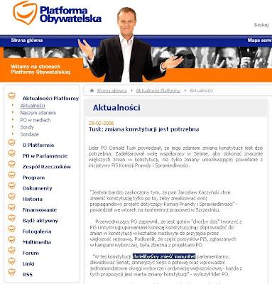 Platforma za zniesieniem immunitetu poselskiego