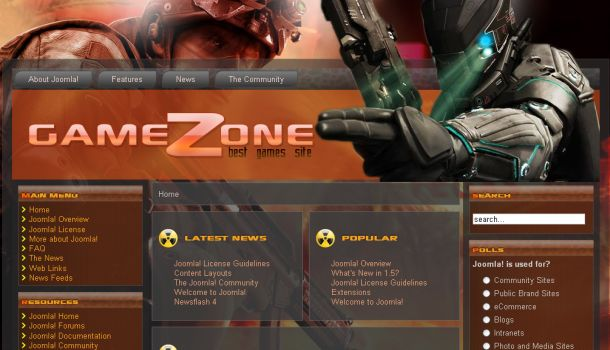 Free Games Black Joomla Flash Template