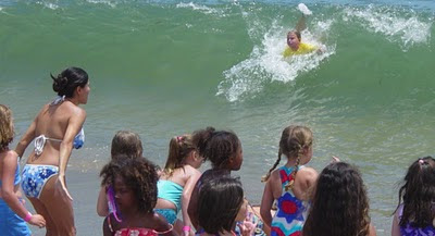 This boy won Aloha Beach Camp's body surfing contest at Paradise Cove, Malibu...and he's only 7 years old!