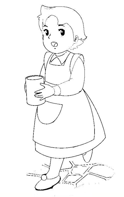 Heidi Dibujos Para Colorear Heidi Con Su Vaso De Leche