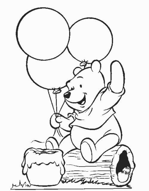 Pinta Y Colorea A Winnie The Pooh Con Sus Bonitos Globos