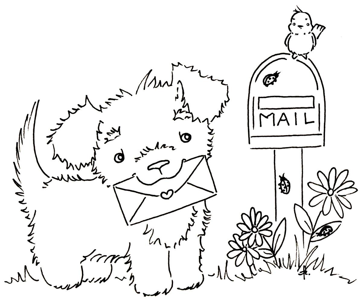 Sliekje Digi Stamps Puppy Mail