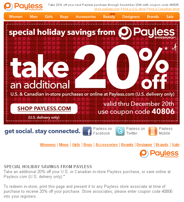 Payless ShoeSource Canada Promo Codes December 2018