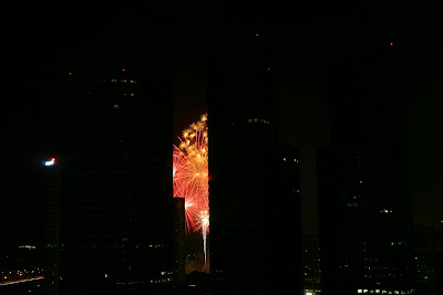 Chinese New Year Eve Fireworks (taken behind an office window)