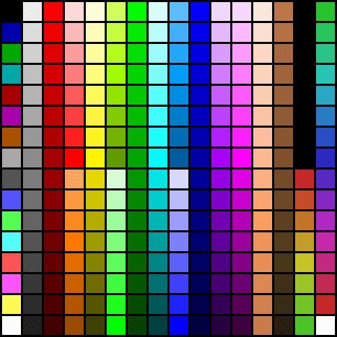 256색 색상표 파일 다운로드, 8비트 컬러 표; 디럭스 페인트 DPaint