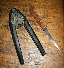 Tools for killing our chickens - a nutcracker and a very sharp pointed knife