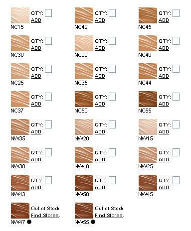 A guide to MAC foundation colors C? NC? N? NW? W?