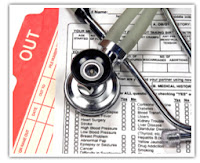 Stethoscope on Insurance Form