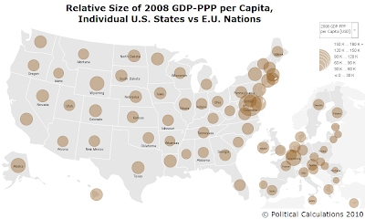 2008 E.U. nations vs U.S. states GDP-PPP per capita