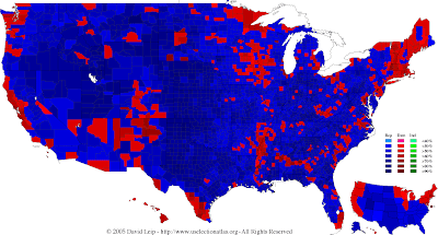 U.S. Political Party Preference Map by County, 2005, Source: US Election Atlas