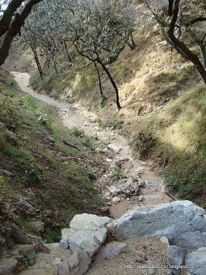 Arroyo Piedras Blancas en el vértice de dos picachos, pendientes poco mayor de 45º