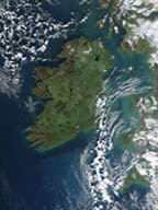 a satelite view of Ireland