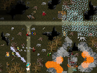 Adventurers battle the dark fiends that reside in Forgotten Oak of the graphical mud, Wyvern.