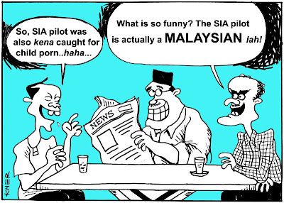 malaysia cartoon drawn by kher making fun at the sia pilot being caught for child porn in adelaide