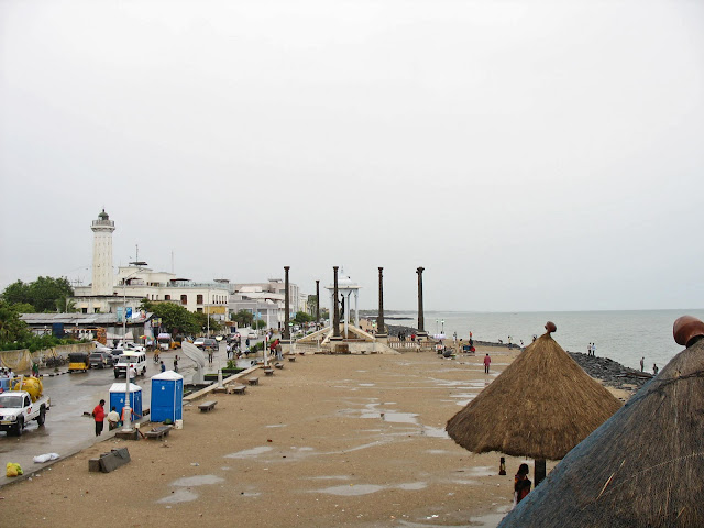 view of Pondycherry beach and town