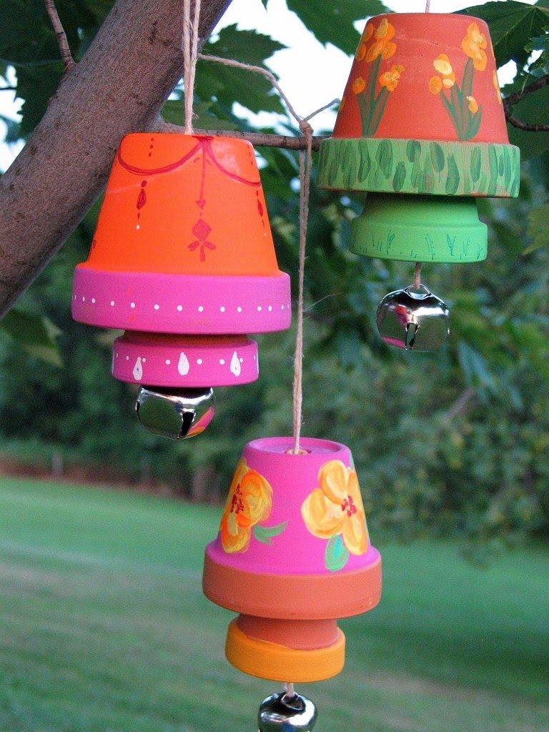 Butterfly Jungle Terra Cotta Garden Bells