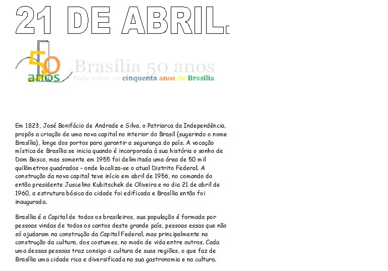 Aniversario De Texto: Blog Da Prof Katia: ANIVERSÁRIO DE BRASÍLIA