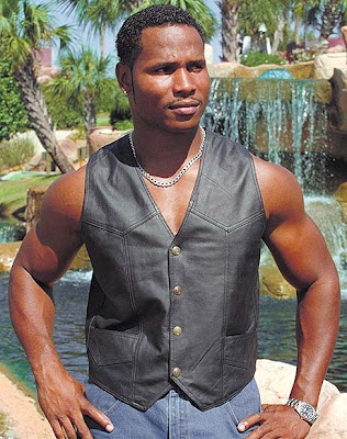 Sexy black hunk with leather vest