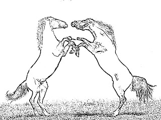 Horses Fighting Coloring Pages