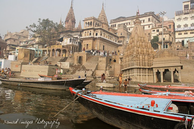 temples and boats in varanasi