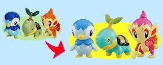 Tomy MC Prize Figure Shiny Pokemon Turtwig Chimchar Piplup