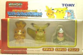 Pokemon Figure Clear Ver Fukuoka PokeCen Opening Set Pikachu Totodile Tochic Tomy