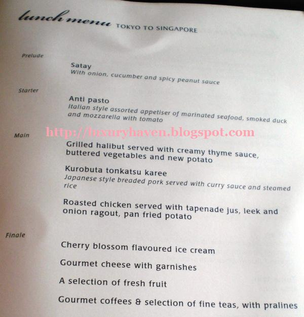 singapore airlines business class menu