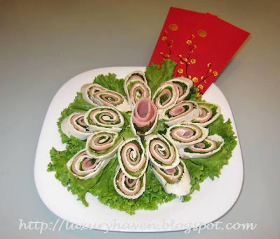 making healthy chinese new year tortilla pinwheels