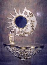 console e moldura sole lua em gesso