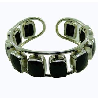 Designer sterling silver Black Onyx cuff bracelet