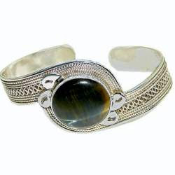 Sterling Silver Cuff Bracelet is set with Tiger Stone