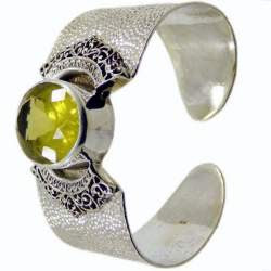 Sterling Silver Cuff Bracelet with Lemon Stone