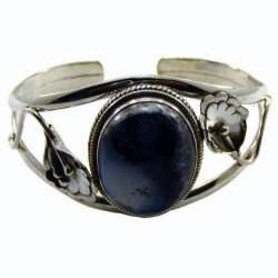 Blue Stone Silver Cuff bracelet