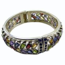 Multi Color Sterling Silver Cuff Bracelet
