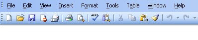 Microsoft Word Toolbar Screen shot