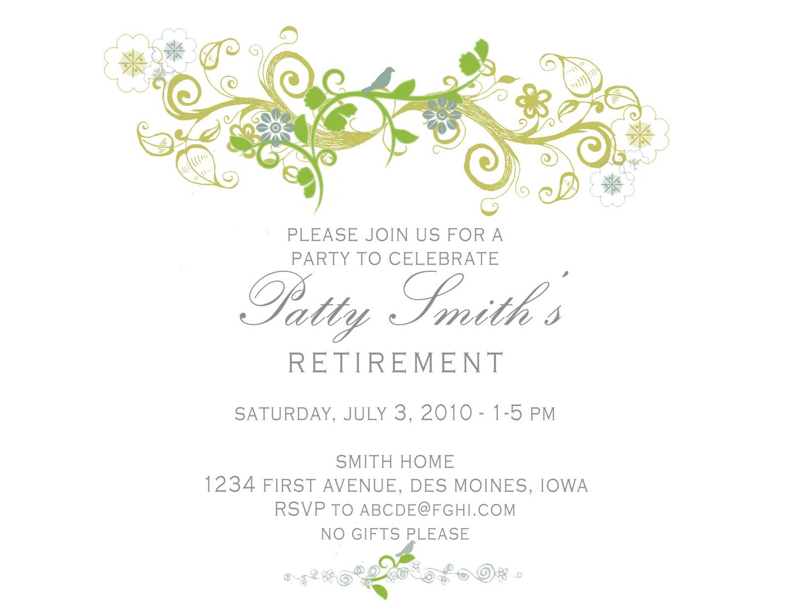 retirement invite template