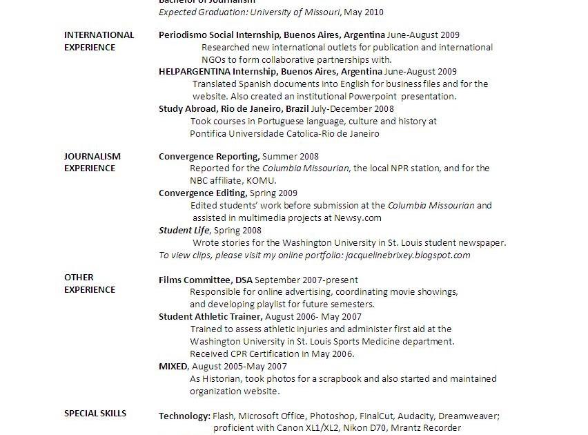 Jacqueline Brixey Resume - International Experience Resume
