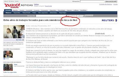 captura de noticia errónea de Yahoo
