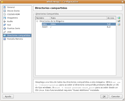 VirtualBox Compartir carpetas