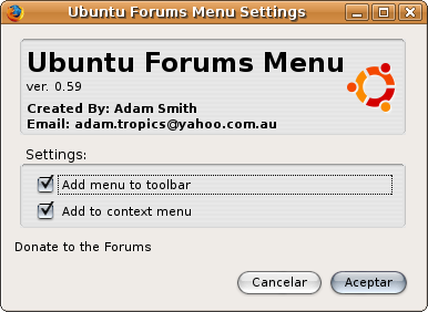 Preferencisa de aspecto de ubuntu forums menu