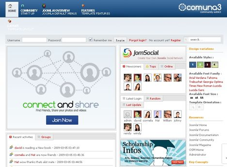 Tp comuna3 social networking joomla template niches for Social networking sites templates php