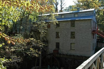 this is the view of the mill from the opposite side of the dam